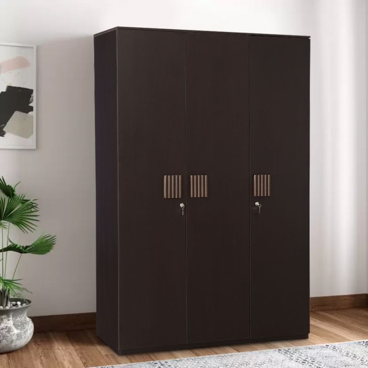 Tiago Engineered Wood Three Door Wardrobe in Wenge Colour by HomeTown