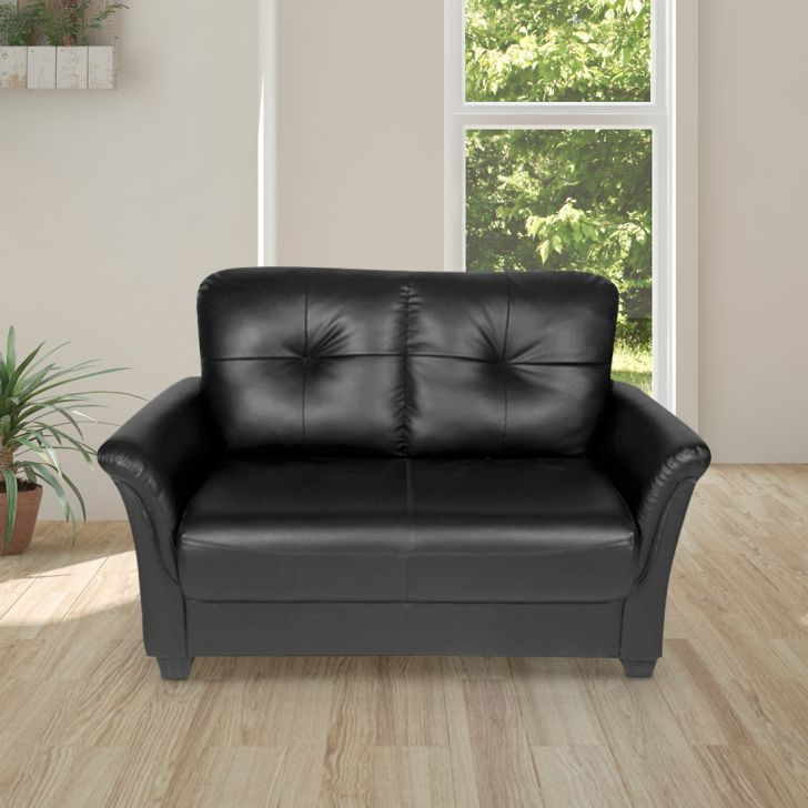 Grace Leather Fabric Two Seater Sofa in Black Colour by HomeTown