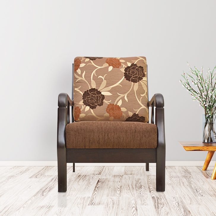 Phoenix Solid Wood Single Seater Sofa in Brown Colour by HomeTown