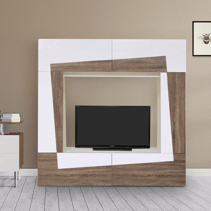 Daisy Engineered Wood TV Unit in Light Oak & White Gloss Colour by HomeTown