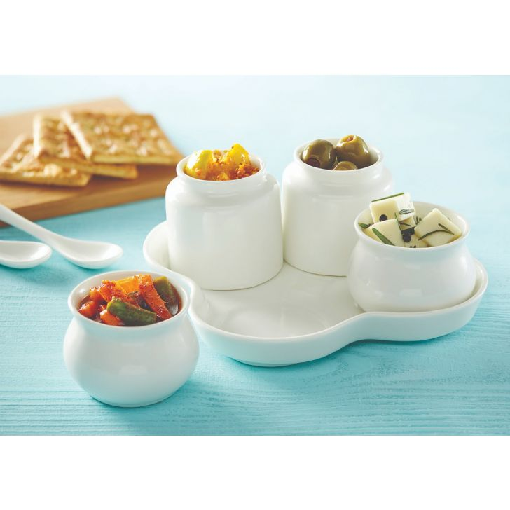 Traditional Condiment Set Ceramic Serving Sets in White Colour by Songbird