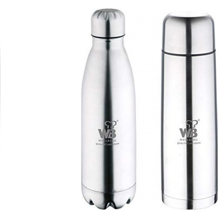 2 Pcs Flask Set Stainless steel in Silver Colour by Wellberg