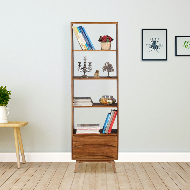 Nordland Acacia Wood Book Shelf in Walnut Brown Colour by HomeTown