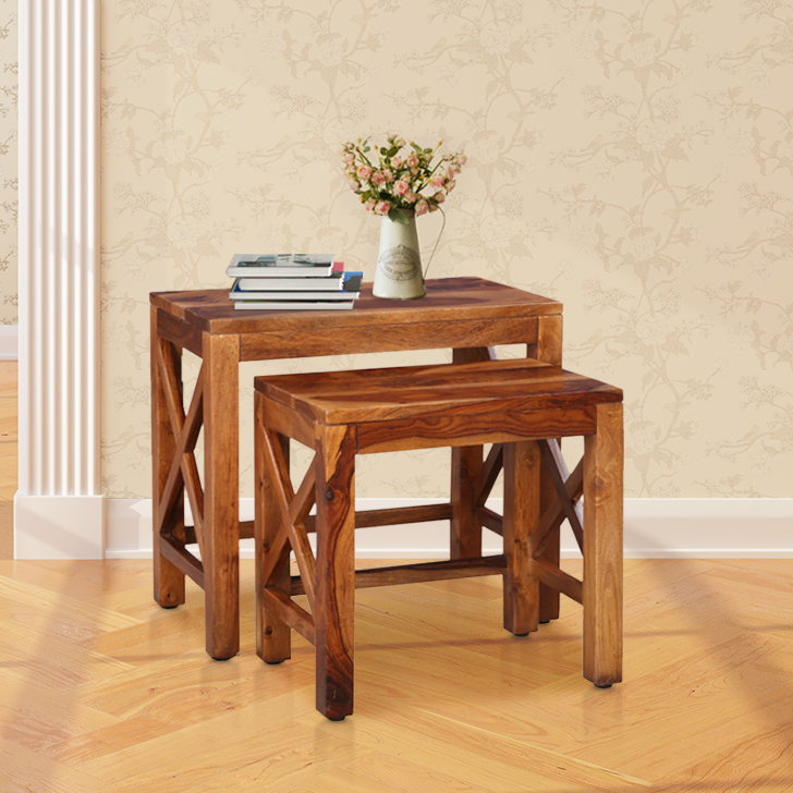 Erwin Sheesham Wood(Rosewood) Nesting Table in Honey Colour by HomeTown