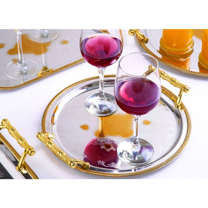 Persian Set of 2 Stainless steel Trays in Silver & Gold Colour by Living Essence