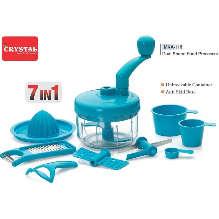 "Dual Speed Mini Food Processor 7 in 1 "" Other Kitchenware in Blue Colour by Crystal"