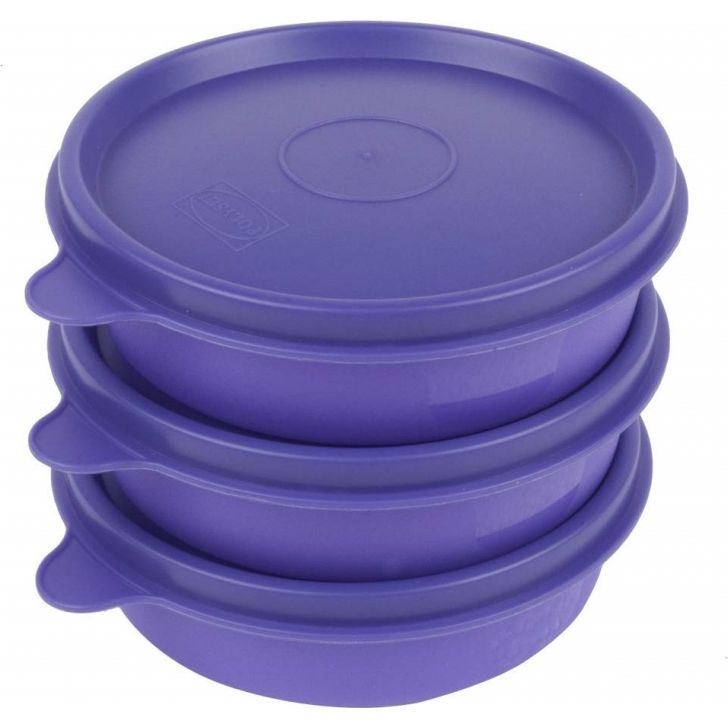 Magic Seal Round Set Of 3 Plastic Containers in Purple Colour by Polyset