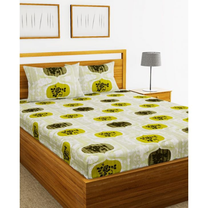 Essenza Cotton King Bed Sheet 220X254 CM in Light Green Colour