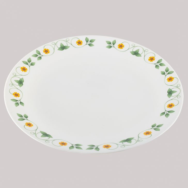 Diva Ivory Full Plate Amber Willow Glass Plates in White Colour by Diva