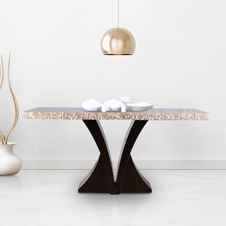 Alexanderia Solid Wood Marble Top Six Seater Dining Table in Beige Colour by HomeTown
