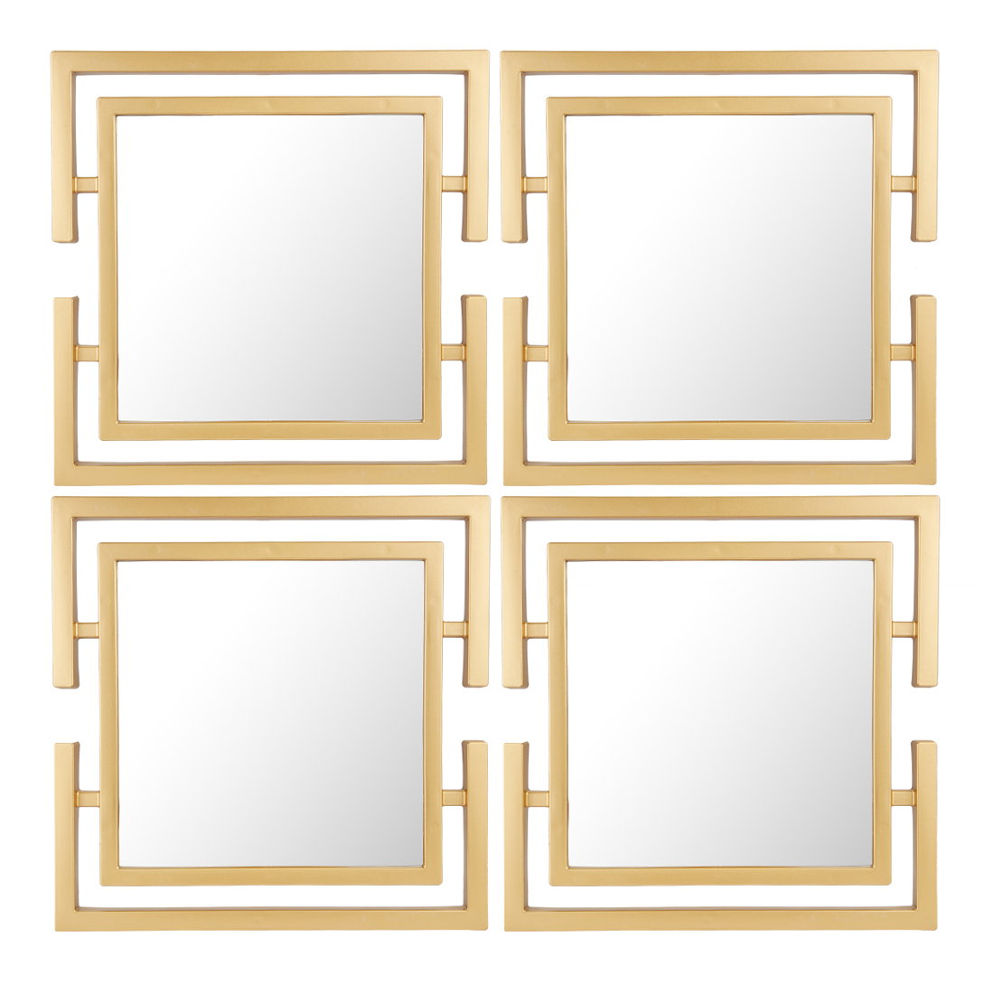 Mirage Square Set Of Four Gold Mirror Wall Accents in Gold Colour by Living Essence