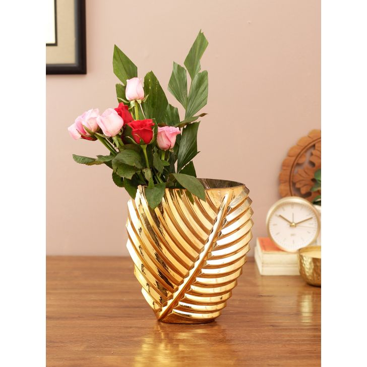 Eva Leaf Glass Vase Gold Glass Vases in Gold Colour by Living Essence
