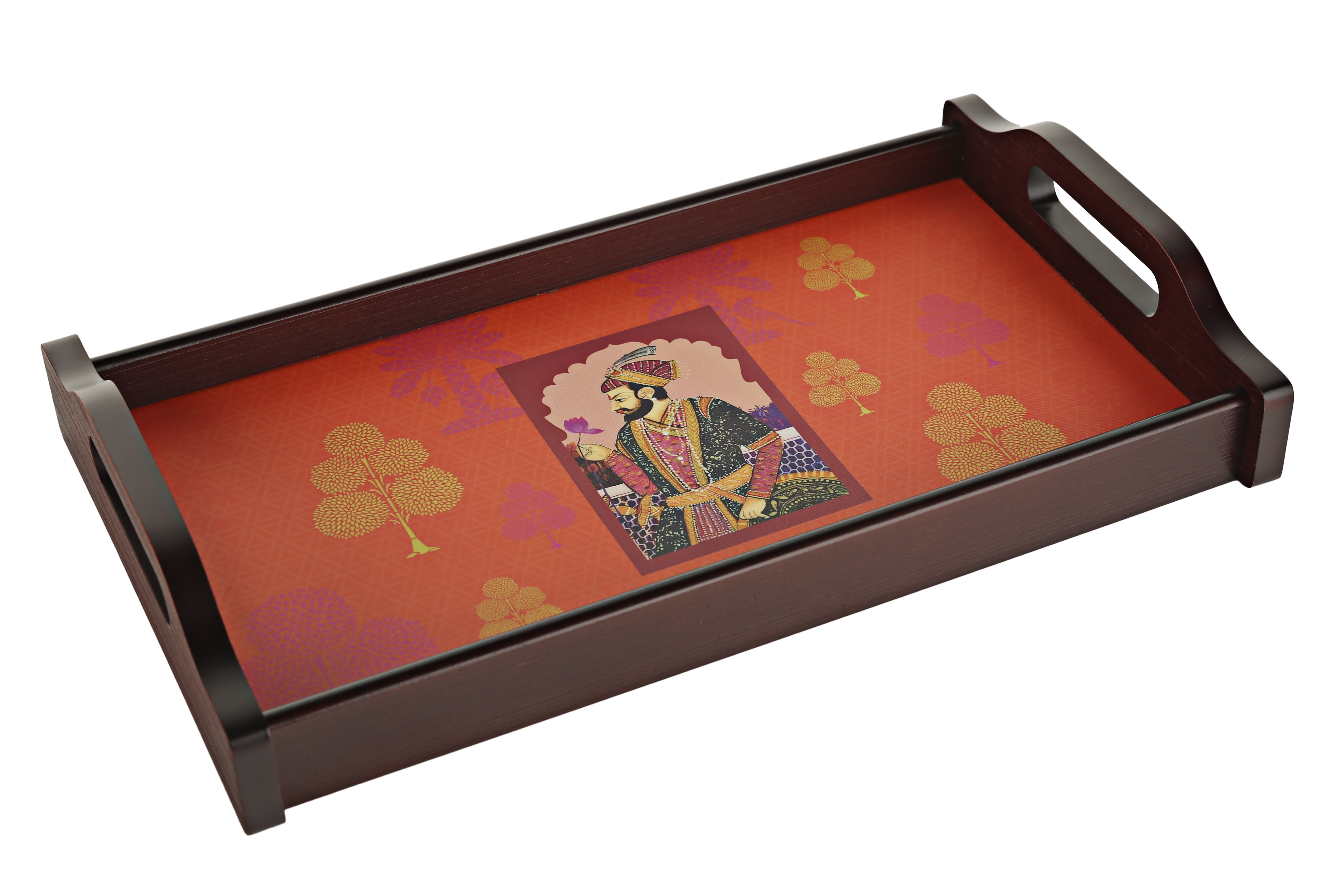 Raja Rani Print Tray Timber Wood Trays in Tangello Colour by Living Essence