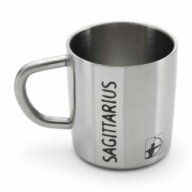Hot Muggs Sagittarius Starsign Steel Walled Mug 200 Stainless steel Coffee Mugs in Silver Colour by HotMuggs