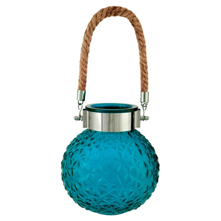 Marvela With Rope Glass Candle Holders in Blue Colour by Living Essence