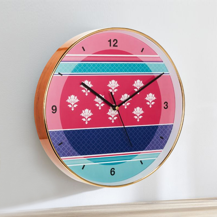 Aika Eclectic Folk Motive Clock Plastic Modern Clocks in Pink & Blue Colour by Living Essence