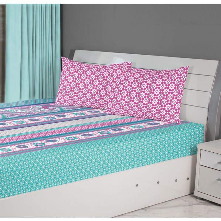 Fiesta Damask Cotton Double Bedsheets in Aqua Colour by Living Essence