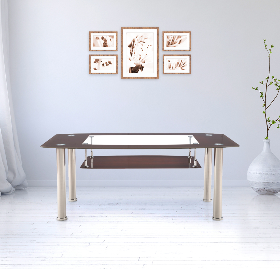 Ben Glass Center Table in Brown Colour by HomeTown