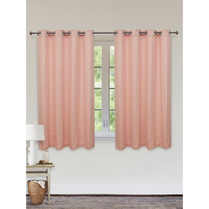 Fiesta Jacquard Set of 2 Cotton Window Curtains in Blush Colour by Living Essence