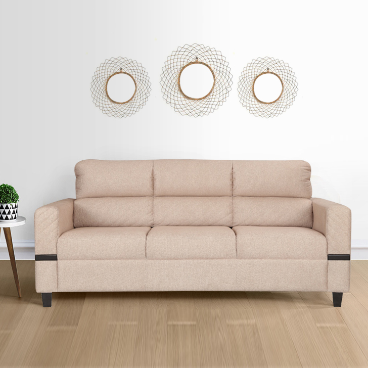 Benedict Fabric Three Seater sofa in Beige Colour by HomeTown
