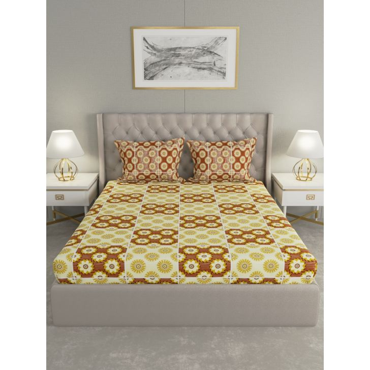 Epic Polycotton Double Bedsheet 220 x 240cms in Yellow Colour