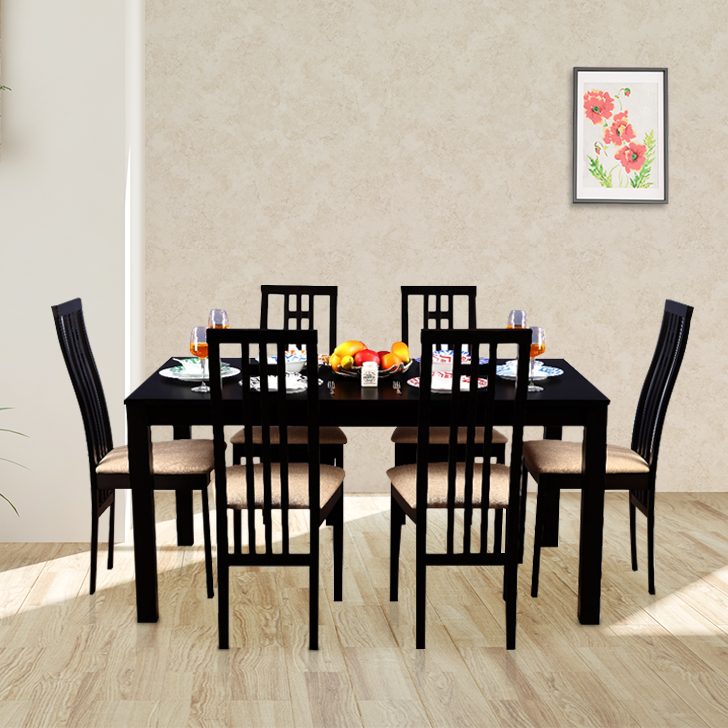 Ronald Solidwood 6 Seater Dining Set in Cappuchino Colour by HomeTown