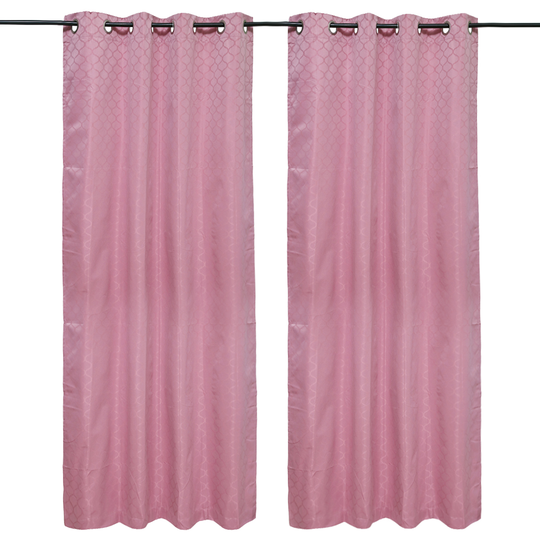 Emilia Jacquard set of 2 Polyester Door Curtains in Rose Colour by Living Essence