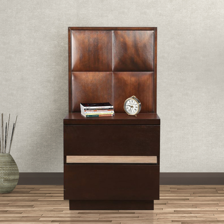 Empire Engineered Wood Bedside Table in Highgloss White & Blue Colour by HomeTown