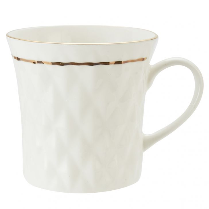 White Goldling Mug Krishna 110 6Pcs Ceramic Coffee Mugs in White Colour by Living Essence