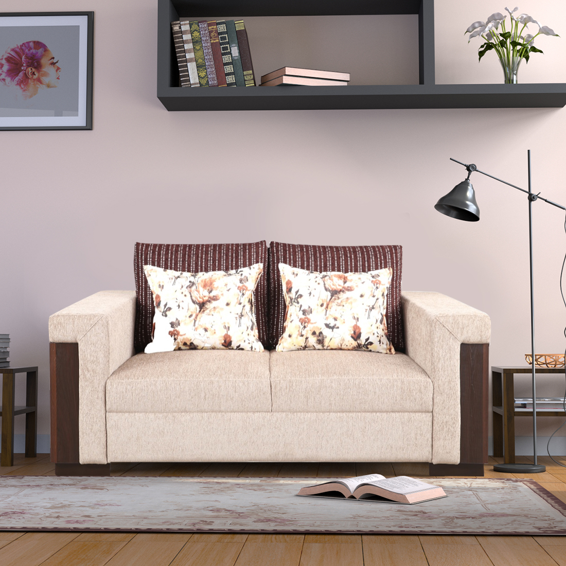 Amazon Fabric Two Seater Sofa in Beige Colour by HomeTown