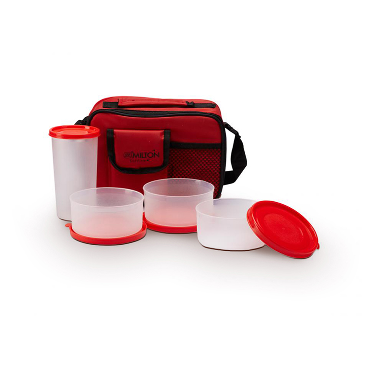 Milton Plastic Assorted Lunch Box Plastic Lunch Boxes in Assorted (Red, Black, Pastel Blue, Yellow) Colour by Milton