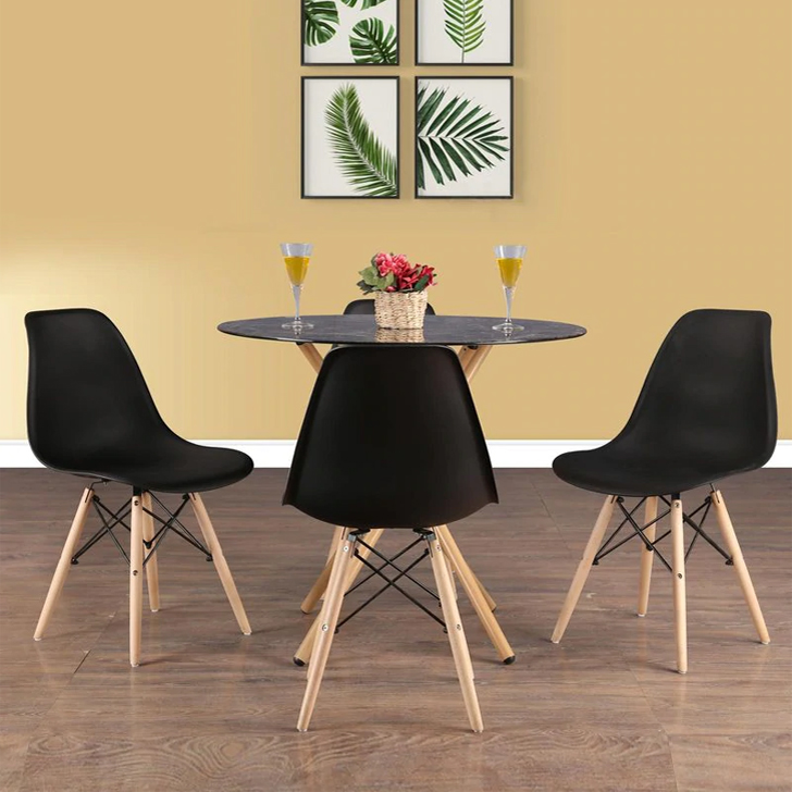 Corona Metal Four Seater Dining Set in Black Colour by HomeTown