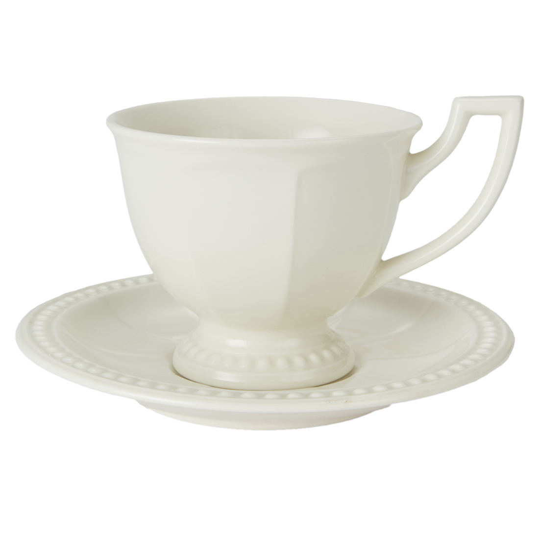 Florence Tea Cup & Saucer Ceramic Cups & Saucers in White With Gold Line Colour by Living Essence