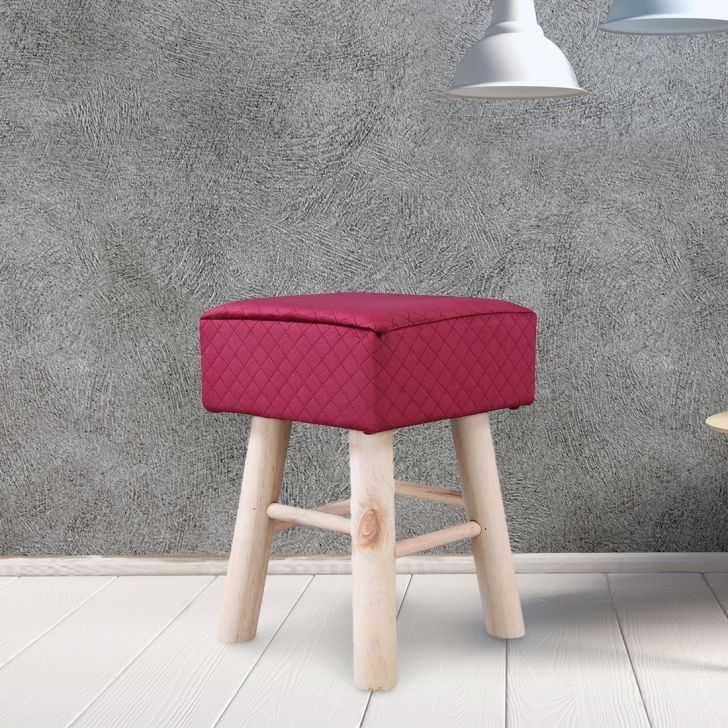 Ella Solid Wood Ottoman in Maroon Colour by HomeTown