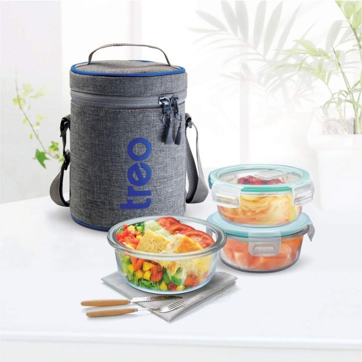Borosillicate Three Tier Lunch Box Glass Insulated LunchPacks in Clear Colour by Treo