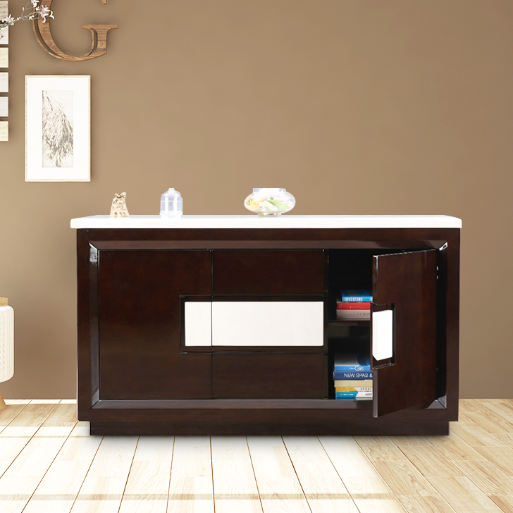 Kingsley Rubber Wood Storage Sideboard in Ivory Colour by HomeTown