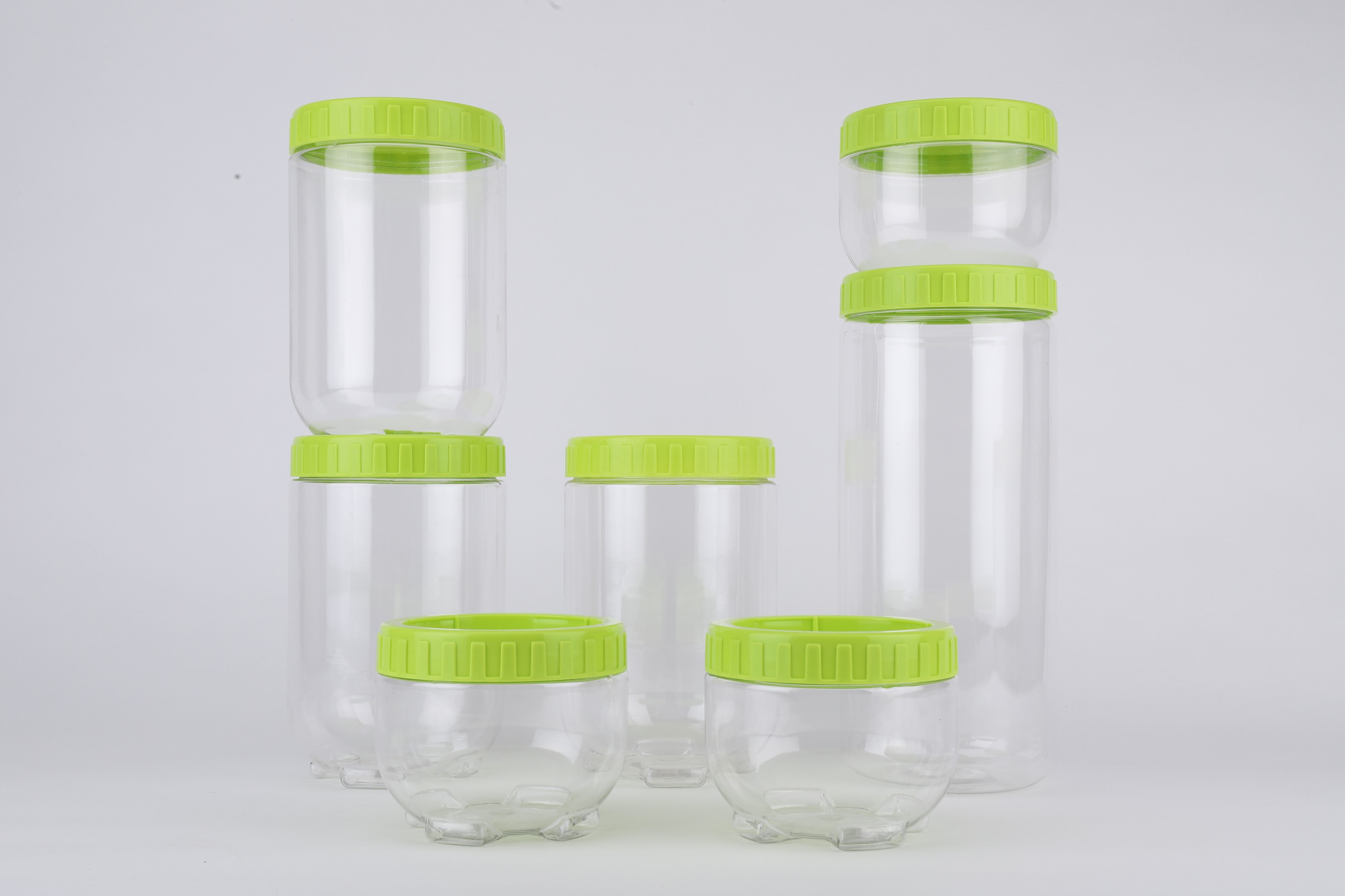 LE Stack & Store Containers Set of 7 Plastic  in Transparet & Green Colour by Living Essence