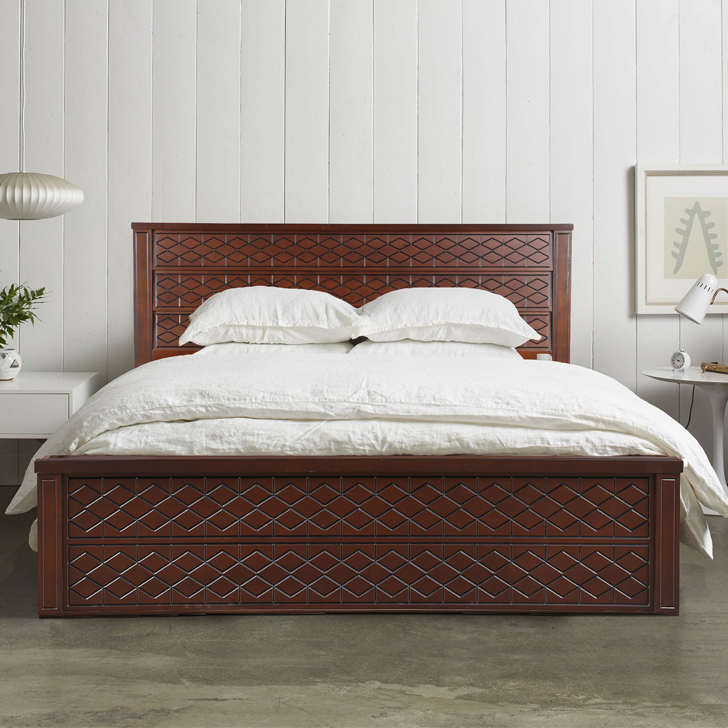 Victoria Solid Wood Box Storage Queen Size Bed in Antique Cherry Colour by HomeTown