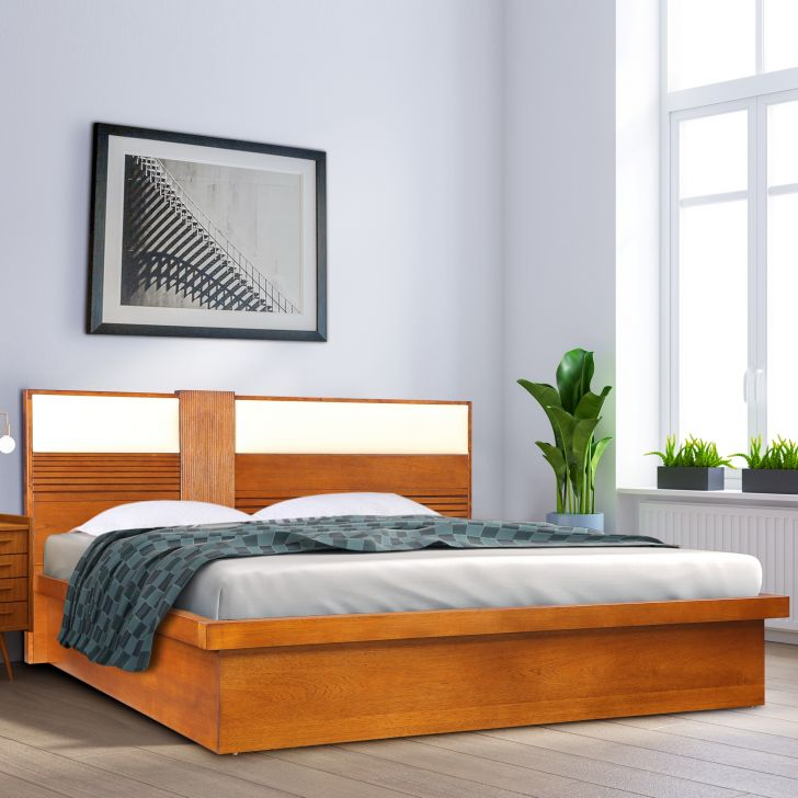 Mystique Solidwood King Bed with Hydraulic Storage in Walnut Colour by HomeTown