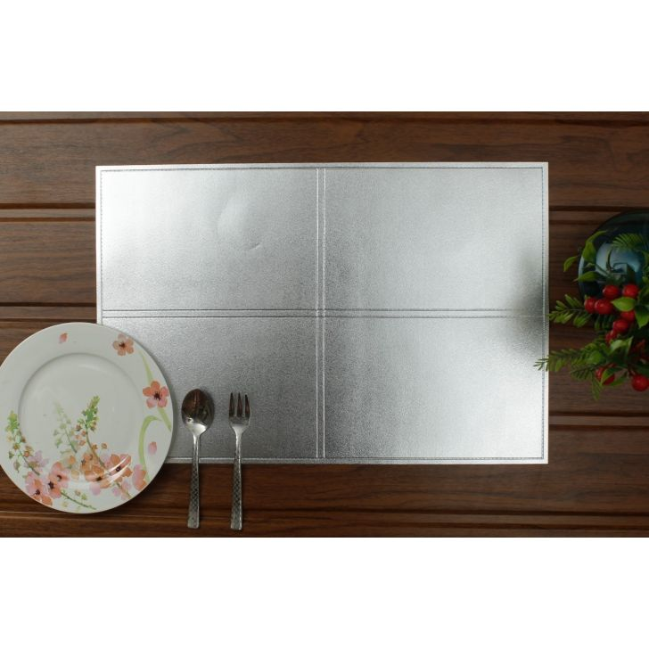 Placemat PVC Table Mats in Silver Colour by Living Essence