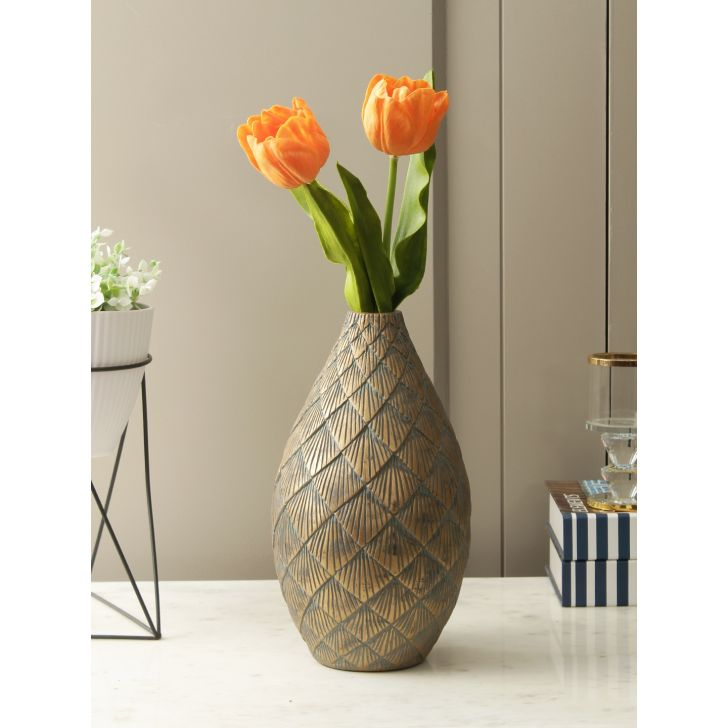 Cellini Polyresin Vase in Grey Gold Colour by HomeTown