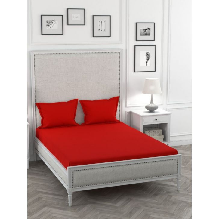 Percale Cotton Double Bed Sheet 220X254 CM in Red Clay Colour