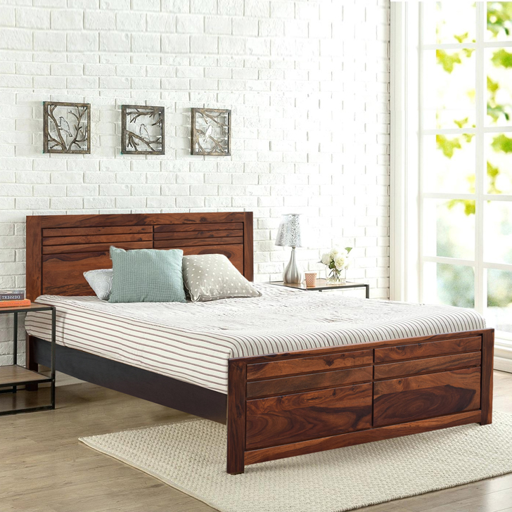 Sicily Sheesham Wood(Rosewood) Queen Bed in Honey Colour by HomeTown