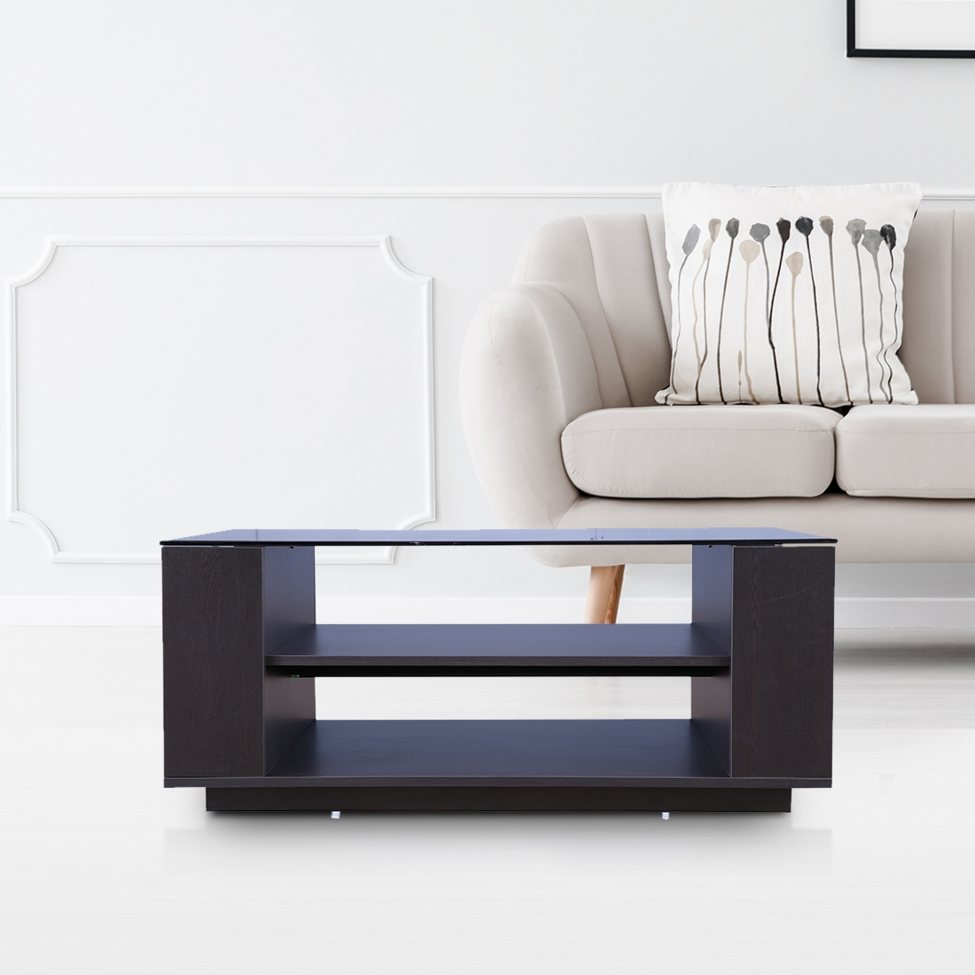 Buy Sofia Engineered Wood Glass Top Center Table in Wenge ...
