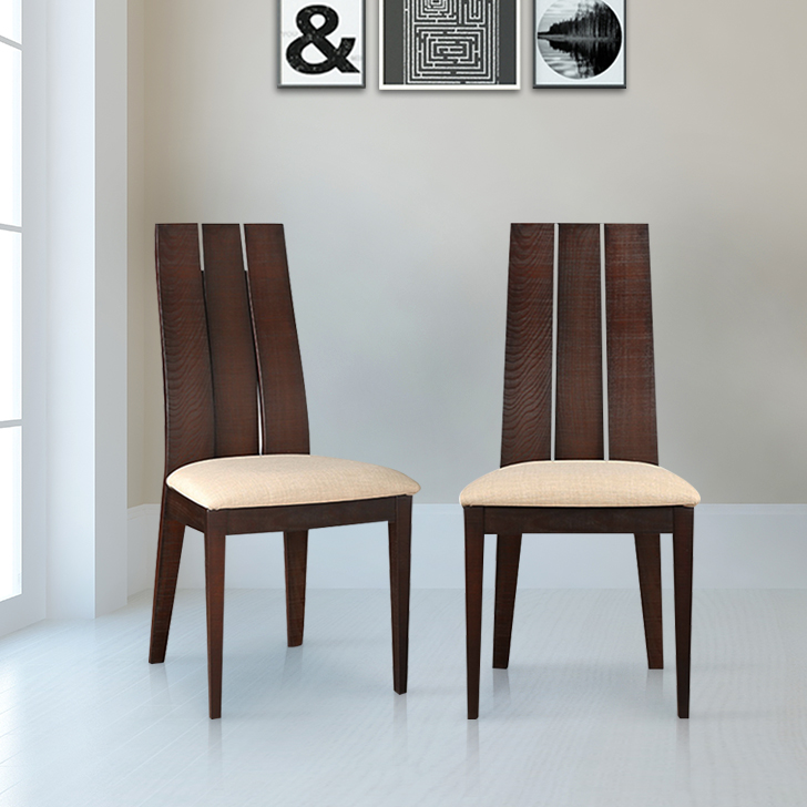 Carlton Solid Wood Dining Chair Set of Two in Burn Beech Colour by HomeTown