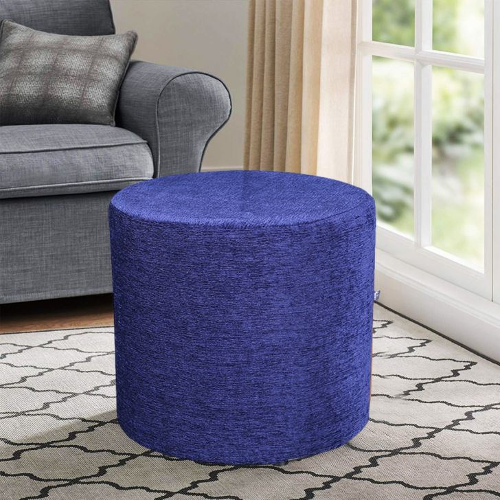 Living Essence Fabric Ottoman in Blue Colour