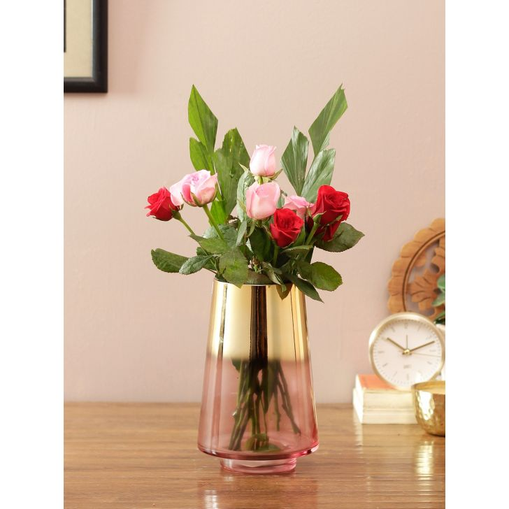 Eva Modern 2 Tone Glass Vase Rose Gold Pink Glass Vases in Rose Gold Pink Colour by Living Essence