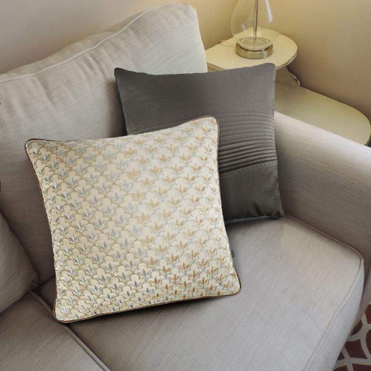 Paisley Polyester Cushion Covers in Beige Colour by Living Essence