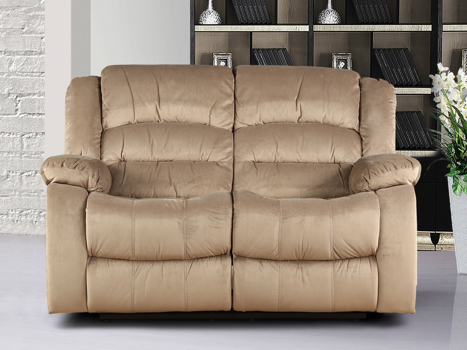 Bradford Fabric Two Seater Recliner in Camel Colour by HomeTown