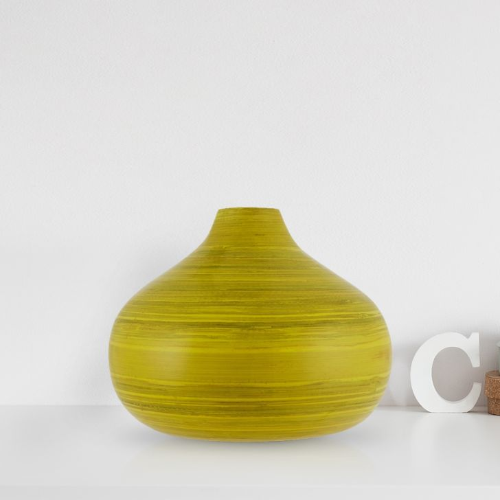 Round Bamboo Vase Small Citron Bamboo Vases in Citron Colour by Living Essence